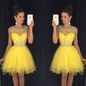 2019 Yellow New Homecoming Dress A Line Sheer Crew Neck Beaded Short Juniors Sweet 15 Graduation Cocktail Party Dress Plus Size