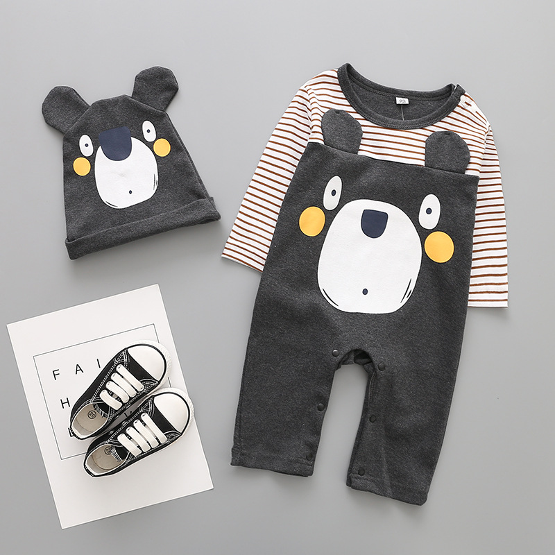 Hot sale new baby romper+hat 2pcs set Cartoon Long sleeve baby boy girl clothes newborn clothing cotton baby clothing set