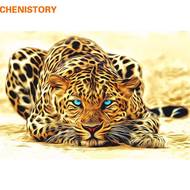 CHENISTORY Moderna Pittura di DIY Dai Numeri di Leopardo Animale Immagine Della Parete Della Casa di Arte Immagine Della Decorazione Astratta della Tela di Canapa Pittura 40*50 cm