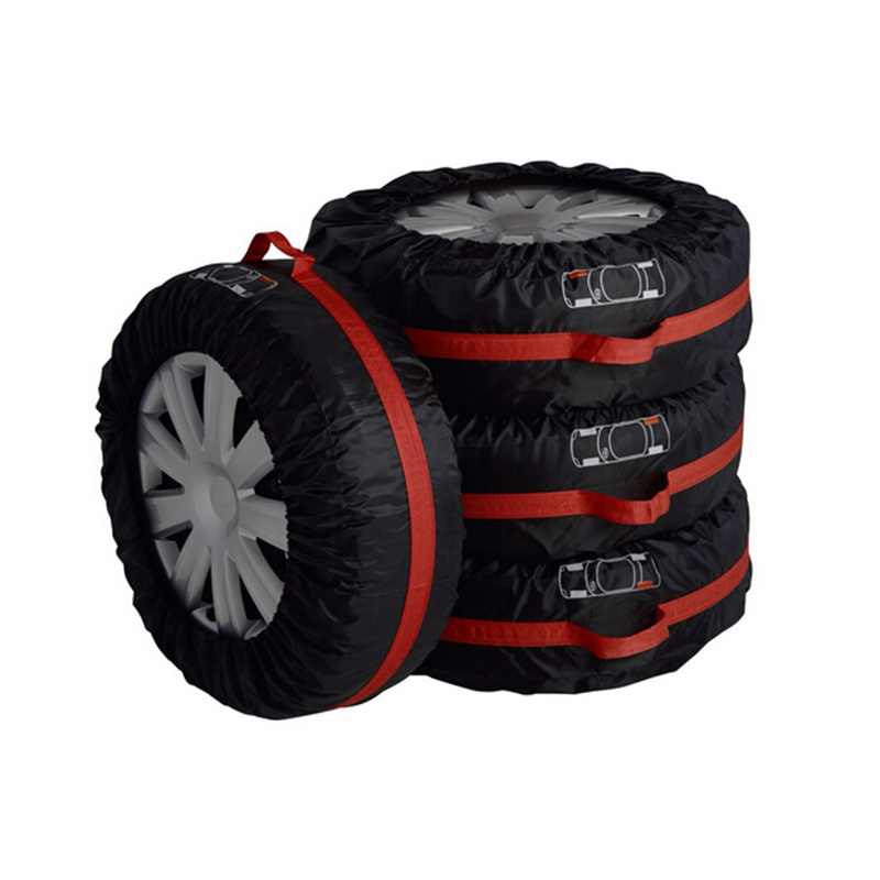 4Pcs Spare Tire Cover Case Polyester Winter and Summer Car Tires Storage Bag Automobile Tyre Accessories Vehicle Wheel Protector pvc car spare 15 tire tyre cover black yellow white