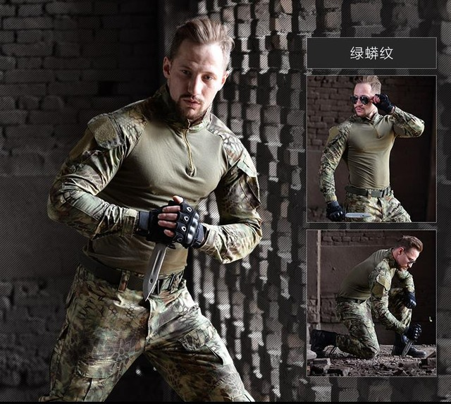 US $50 93 46% OFF|Men Python Airsoft Army Military Uniform Tactical Navy  Seal Combat Frog Suit Shirt or Pants with Knee Pads Multicam-in Hunting