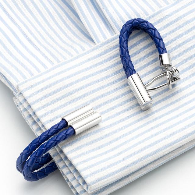 Blue Leather Chain Cufflinks Cuff Link Cuffs Button Gemelos Jewelry 248