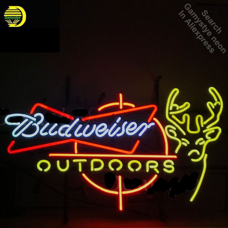 US $174 64 26% OFF|Budweise Beer Outdoors Deer Neon Sign Restaurant neon  bulb Sign neon lights Sign LOGO glass Tube Handcraft Iconic Sign Display-in