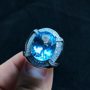 Ring Topaz 925-Silver Gems Natural Men Craftsmanship Large-Grain Beautiful-Colors Exquisite