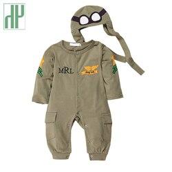 أزياء الطفل السروال القصير قطعة واحدة الطيار ملابس الطفل المولود الجديد بذلة مضحك طفلة رومبير قبعة قطعتين وتتسابق زي