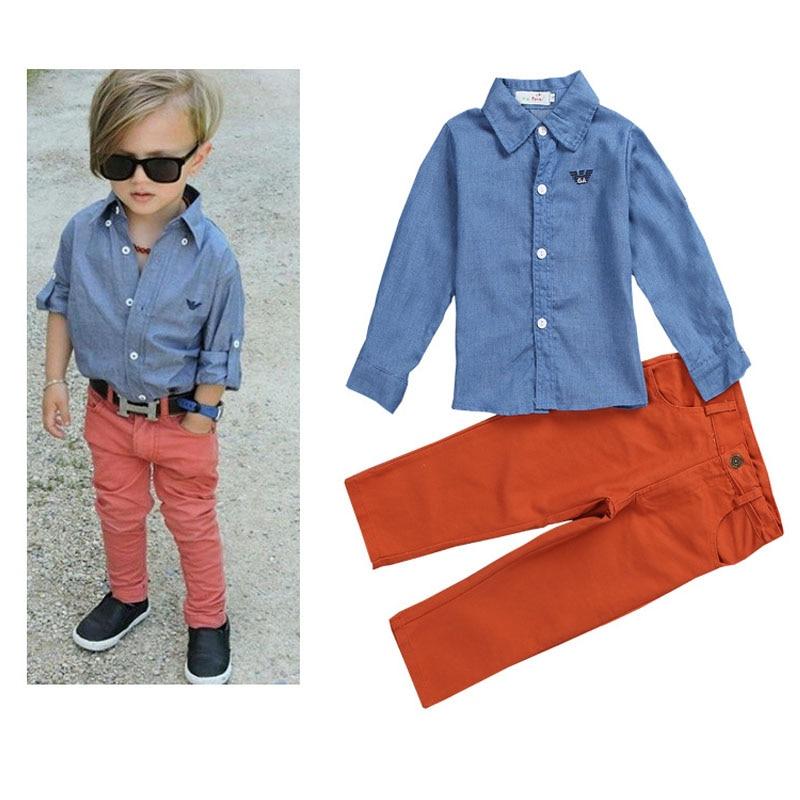 Корейская детская одежда модные Рубашки для мальчиков + Джинсы для женщин Весна Для мальчиков ясельного возраста одежда Американский Стиль...