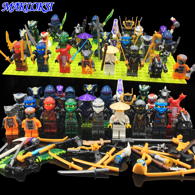 24pcs/lot Ninja Model Building Block Classic Action figures toys for Children gifts with NinjagoINGly LegoINGlys bricks Toys