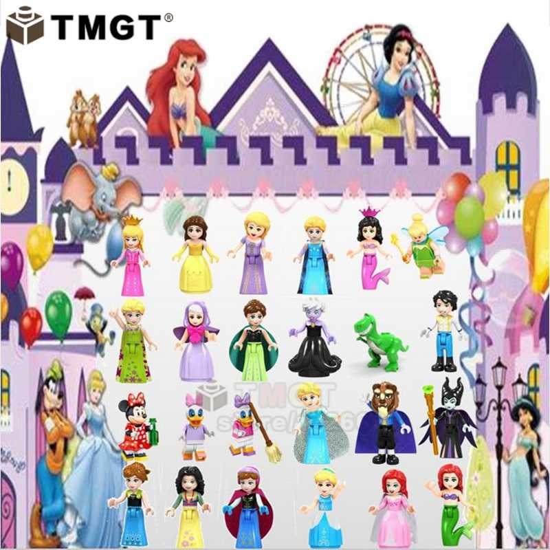 playmobil Girl friends Mickey Mouse Donald Duck Olivia Stephanie Emma princess beast Maleficent Building Blocks Children Toys