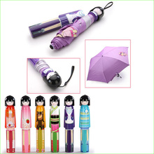 1pcs Novelty Kokeshi Doll Folding Umbrella Japanese Dolls Cute Bottle Folding Kimono Girl Traditional Umbrella randomly sending