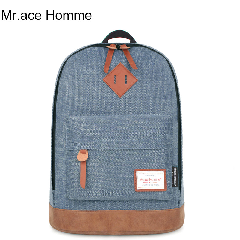 Mr Ace Homme Fashion Women Men College Denim Fabric Leather Backpack Casual Travel Laptop Leather Shoulder