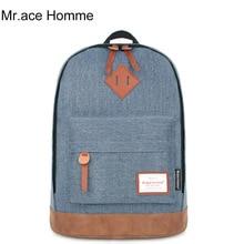 Mr. Ace Homme Mode Frauen Männer College Denim Stoff Leder Rucksack Lässig Reise Laptop Leder Schulter Rucksäcke