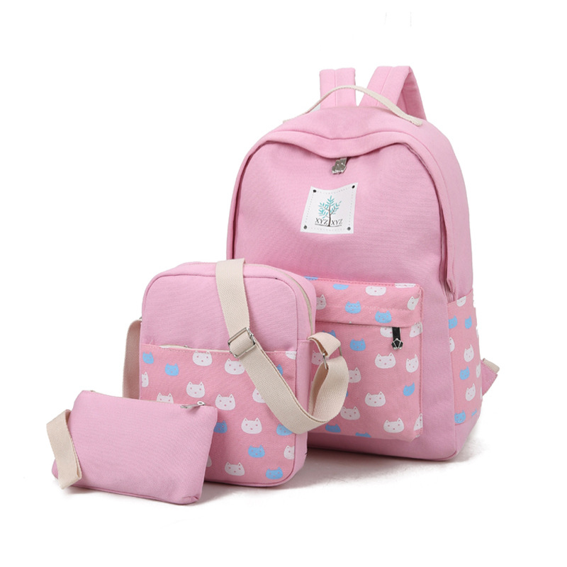 Hot 2017 3 Sets Canvas Schoolbag for Fashion Cute Girls Large Capacity Cat Shape Backpack Korean