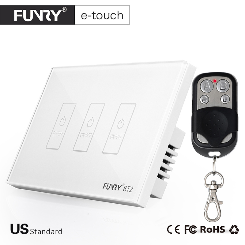 FUNRY US Standard 3 Gang Remote Smart Switch,Crystal Glass Panel Touch Switch, Wireless Remote Control Light Switch, Wall Switch ewelink eu uk standard 1 gang 1 way touch switch rf433 wall switch wireless remote control light switch for smart home backlight