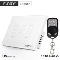 FUNRY US Standard 3 Gang Remote Smart Switch Crystal Glass Panel Touch Switch Wireless Remote Control