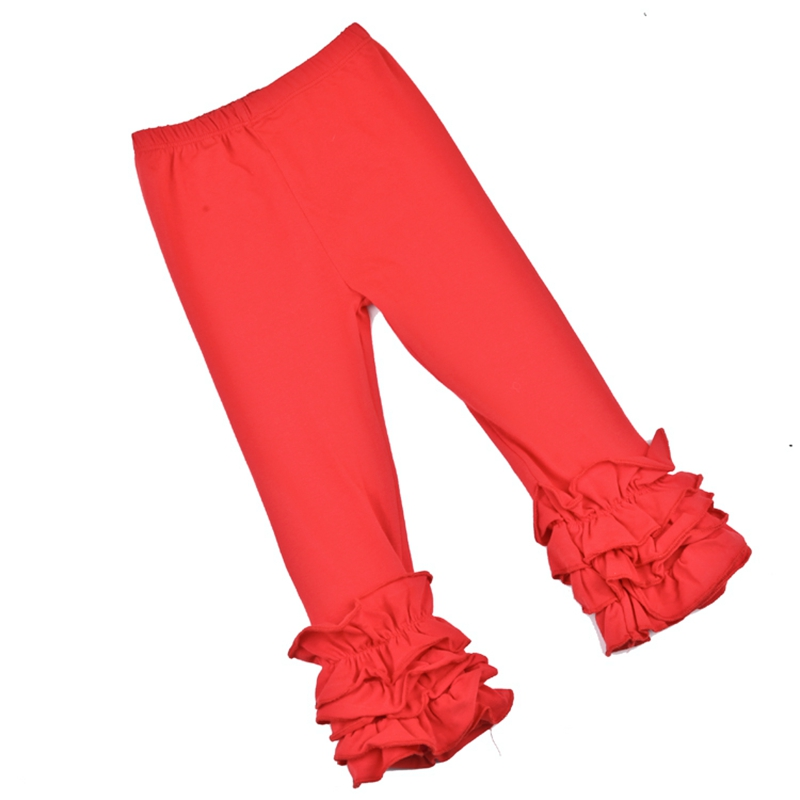 NEW RED SOFT COTTON KNIT DOUBLE RUFFLE GIRLS PANTS BOUTIQUE
