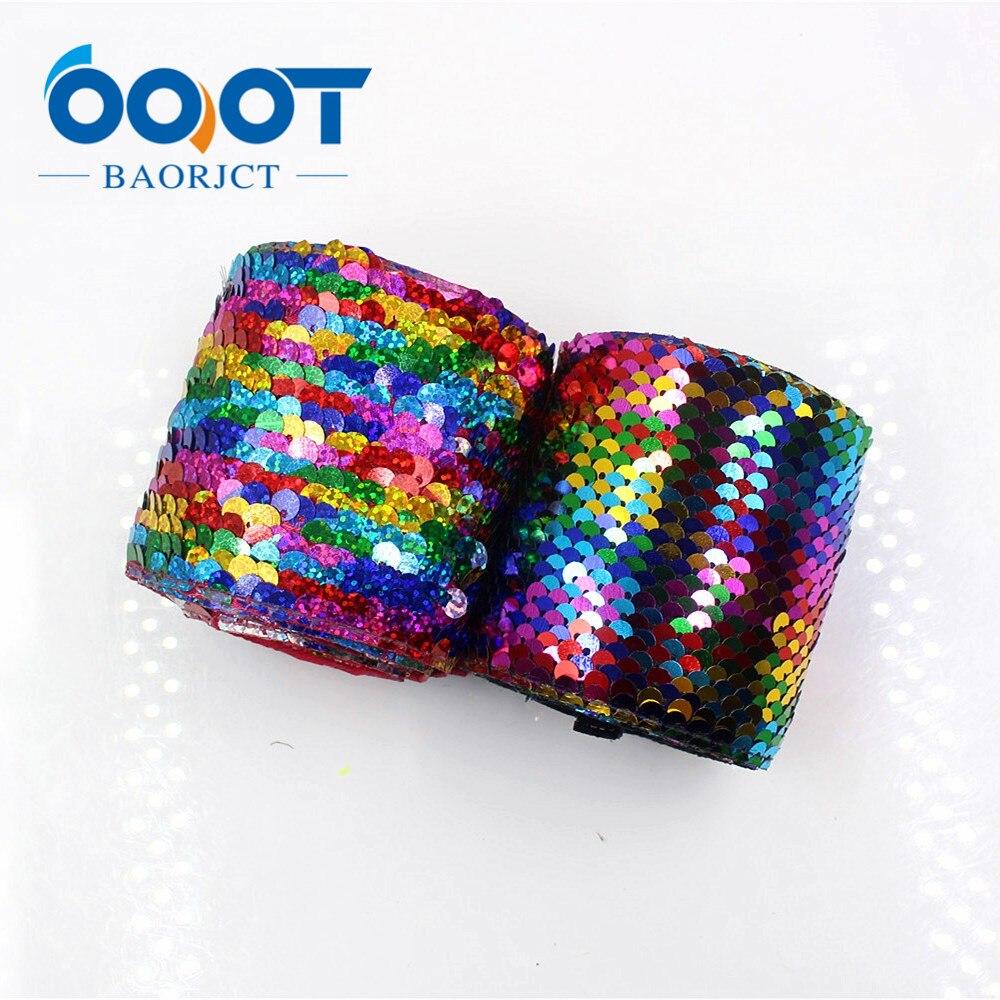 OOOT BAORJCT G-18930-1279, 75mm, 2 yards Coloré squama Rubans, décoration De Mariage, accessoires de Vêtement, BRICOLAGE matériaux à la main
