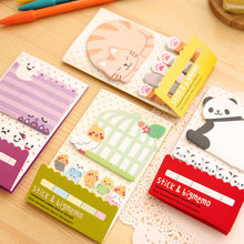 Animal Cat Panda śliczne Kawaii kartki samoprzylepne notatnik szkolne naklejki do planowania zakładki papierowe koreańskie piśmiennicze
