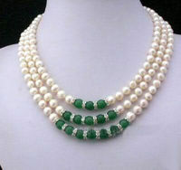 Hot sale fashion natural freshwater cultured pearl beads necklace 7 8mm green chalcedony rope chain jewelry 17 19inch BV224