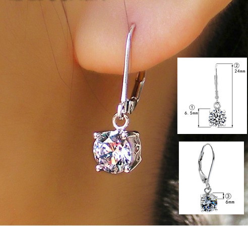 1 0 Carat Piece Round Cut Women Earrings Pendant For Her 925 Sterling Silver Stud Hooked In From Jewelry Accessories On Aliexpress