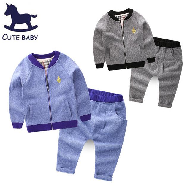 Conjuntos de Roupas Meninos das crianças set roupas meninos Roupas para 6-7-8Years Roupa Dos Miúdos Dos meninos Tops casacos + Calças 2 pcs para o bebê meninos