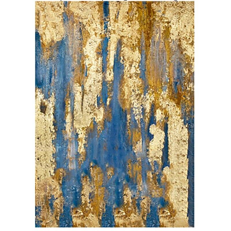 Ручная роспись Оригинал Аннотация Современное искусство Современная живопись абстрактный цвета: золотистый, синий Wall Art Decor текстурированн