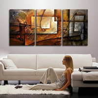 Hand Painted Modern Abstract Oil Painting Wall Art Canvas Set 3 Panel Realistic Home Decoration Picture For Kitchen Living Room
