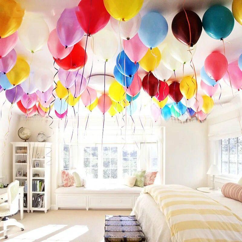 как украсить комнату воздушными шарами фото место многочисленных