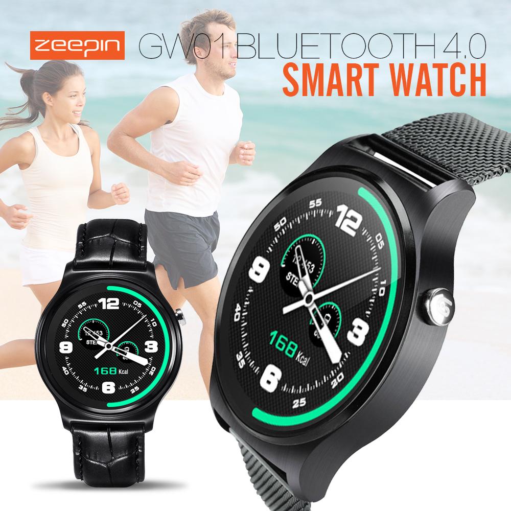 Prix pour Gw01 bluetooth 4.0 smart watch mtk2502 ips écran rond vie résistant à l'eau anti-perte smartwatch soutien android ios montres