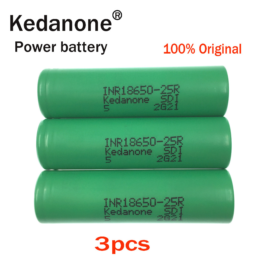 2018 3 unids Kedanone for original <font><b>samsung</b></font> <font><b>18650</b></font> lithium battery <font><b>25r</b></font> inr1865025r 20a, 2500 mah battery for electronic cigarette image