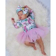 Нарядное платье для маленьких девочек 0-18 месяцев, платье с изображением маленького единорога, костюм на Хэллоуин, вечерние фатиновые Бальные платья-пачки для девочек, мини-платье, одежда