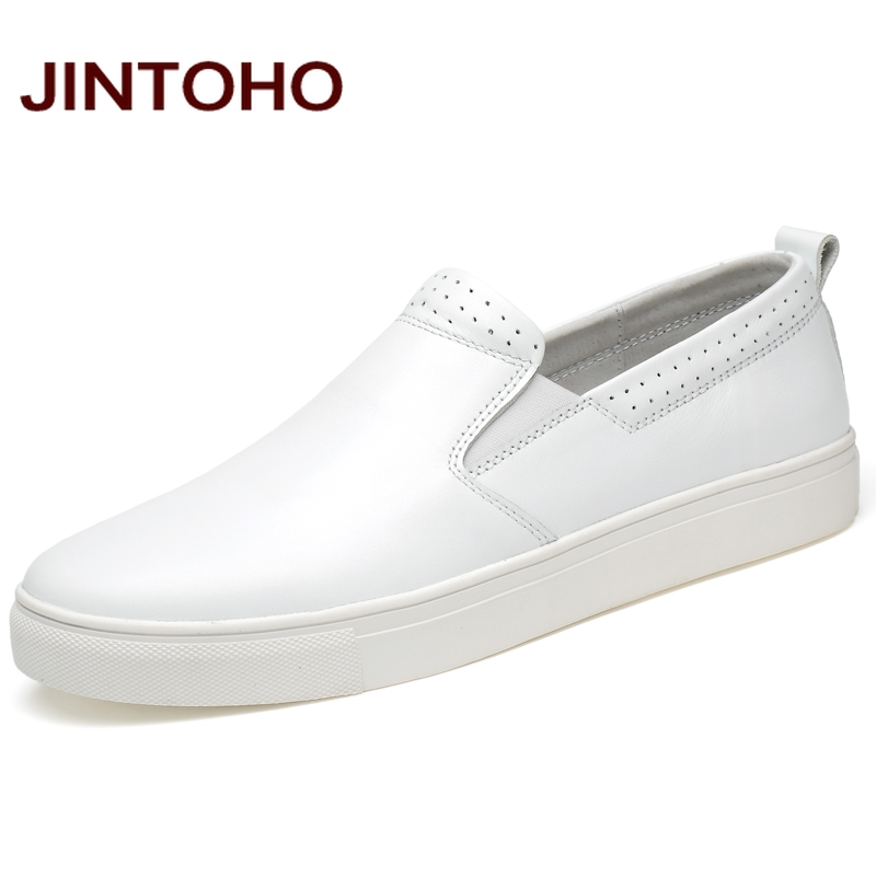 JINTOHO Real Leather Men Soft Leather Shoes Slip On Men Loafers Genuine Leather Brand Men Casual