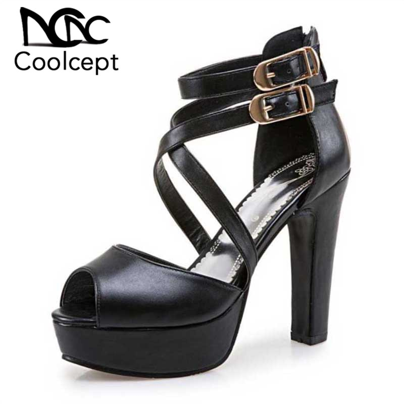 Coolcept Plus Size 34-50 Office Lady High Heel Sandals Platform Ankle Strap Spike Heel Shoes Summer Beach Party Club Footwear