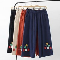 Plus size 2018 spring autumn high waist pantalon femme Beige & black & dark blue & Coral red wide leg pant cotton trousers women