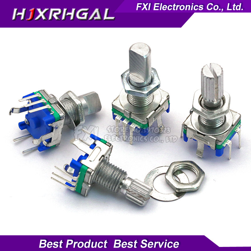 5PCS Half / Plum Axis Rotary Encoder, Handle Length 15mm / 20mm Code Switch/ EC11/ Digital Potentiometer With Switch 5Pin 3Pin