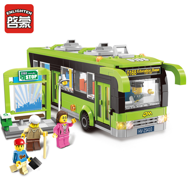 AIBOULLY 418pcs Enlighten 1121 City Bus Station Building Block sets Kids Educational Bricks Toys minis Toys Compatible Legoings