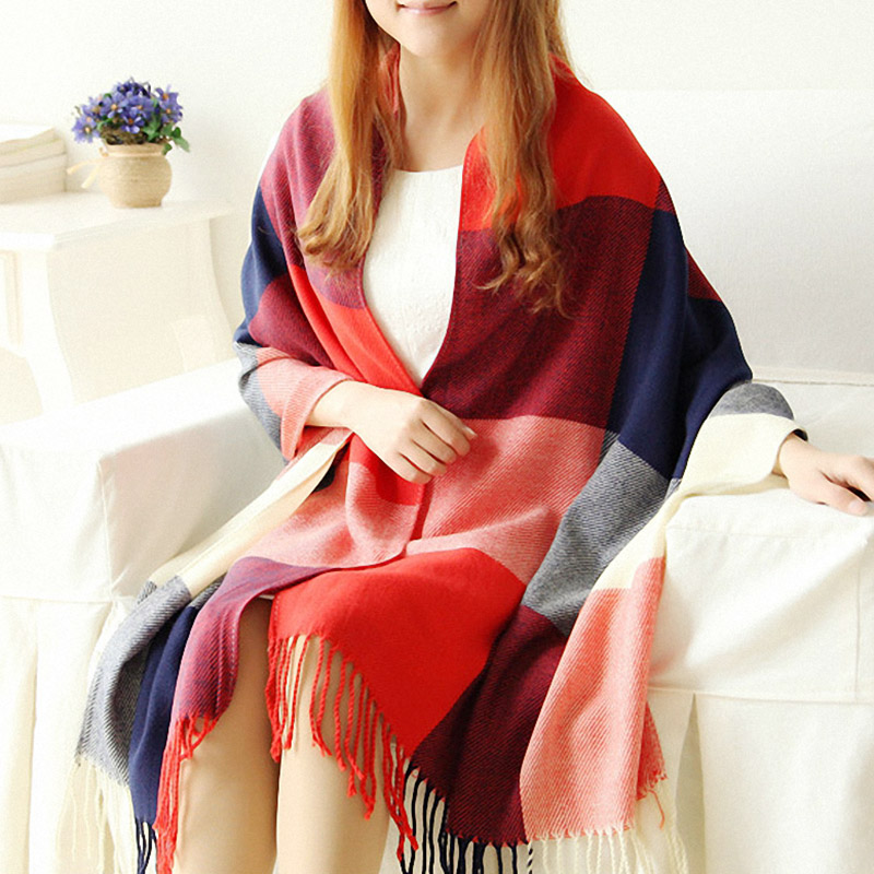 190*60cm Autumn Winter Women Scarf Plaid Cashmere Scarves Wide Lattice Long Shawl Wrap Warm Wool Tippet Female
