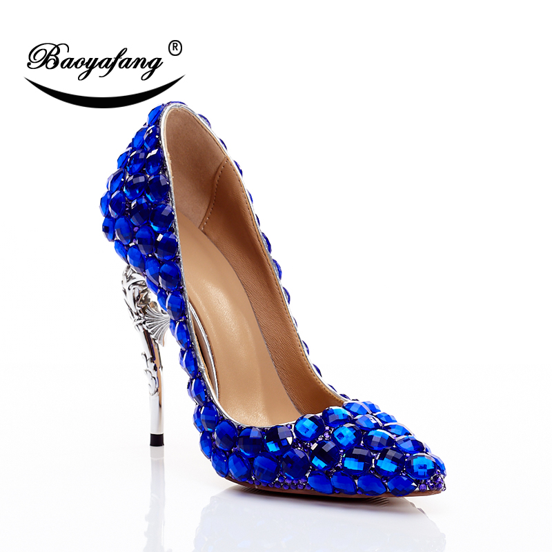 5d60f6dcee43 BaoYaFang New arrival Royal Blue Luxury Crtstal Wedding shoes Womens  Fashion Party shoes Strange style High heels dress shoe-in Women s Pumps  from Shoes on ...