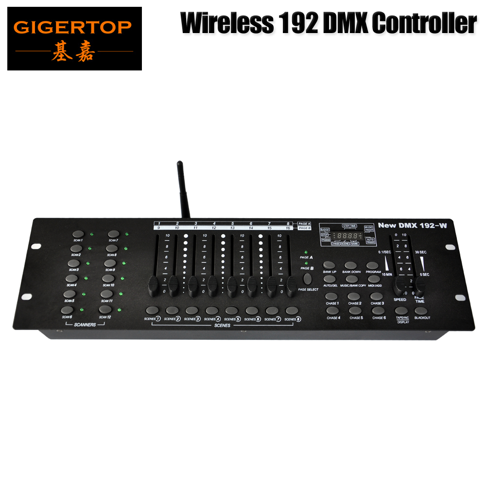 Gigertop Stage Lighting TP-D1344 DMX Wireless 192 Stage Light Controller MIDI Compatible USB Led Lamp 3Pin female DMX connector gigertop stage lighting tp d1344 dmx wireless 192 stage light controller midi compatible usb led lamp 3pin female dmx connector