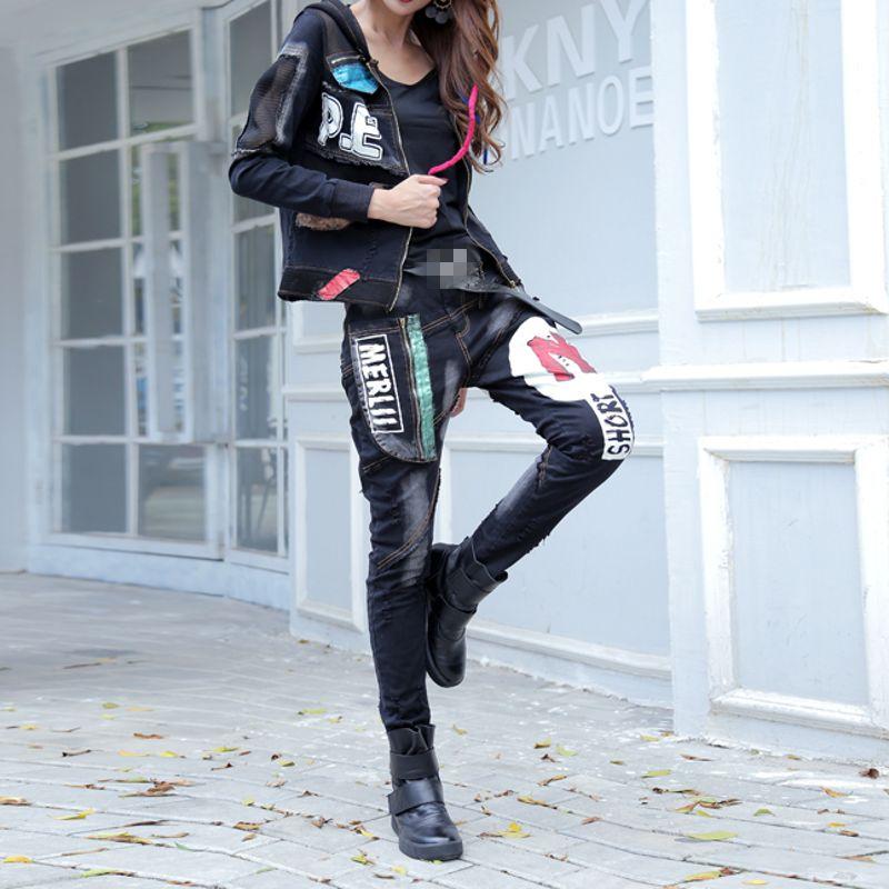 Imprimé Black Veste Pantalon Mode Capuchon Nouveau Casual Moto La À Fleece Femelle Zipper Taille Ensembles black Lining Offre Biker Rétro Vintage Spéciale Punk Plus YwpY6IRq
