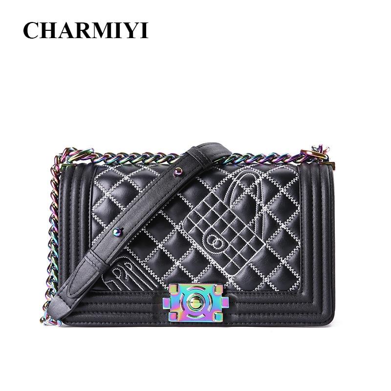 все цены на CHARMIYI Colored Chain Genuine Leather Women Brand Handbag Female Single Shoulder Crossbody Bag Ladies Messenger Bags Sac A Main