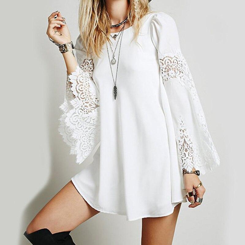 2019 Summer Brand Women White Loose Long Sleeve Lace Crochet Dresses Hollow Out Mini Dress Fashion Sexy Short Dress