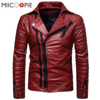 Moto cuir vestes hommes hiver Faux cuir Zipper Chaqueta Cuero Hombre hommes rouge coupe-vent vestes casual affaires manteaux