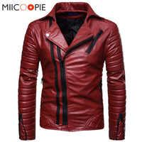 Chaquetas de Cuero de motocicleta para Hombre, chaquetas de invierno con cremallera de Cuero de imitación, Chaqueta de Hombre, chaquetas rojas a prueba de viento, abrigos de negocios Casuales