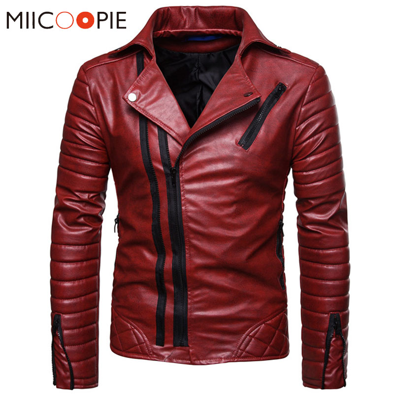 Motorcycle Leather Jackets Men Winter Faux Leather Zipper Chaqueta Cuero Hombre Men Red Windproof Jackets Causal Business Coats
