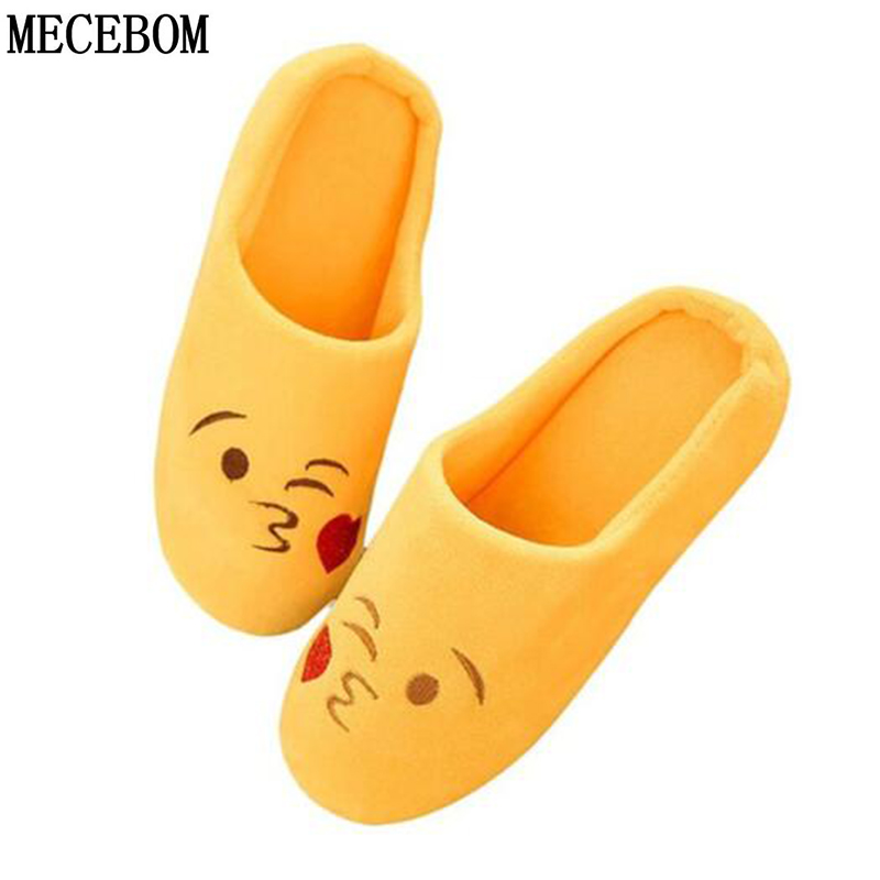 2018 Women Soft Velvet Indoor Floor Expression Slippers Cute Emoji House Shoes Soft Bottom Winter Warm Shoes For Bedroom TX004W high quality new autumn winter velvet ladies slippers women indoor rubber sole waterproof skid warm shoes woman zapatillas emoji