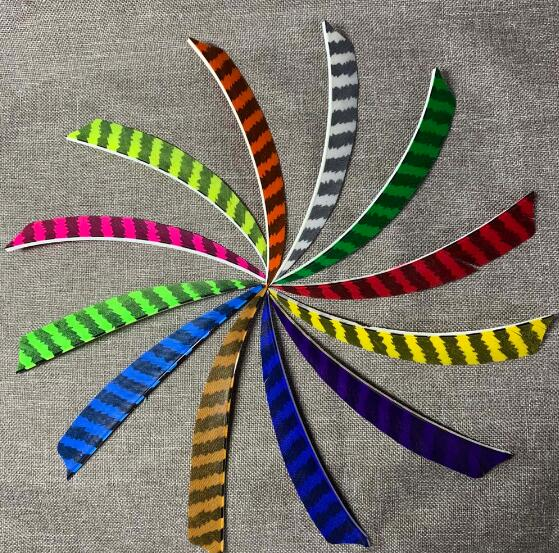 "50pcs Shield Cut Striped Real Feather 5"" 4"" 3"" Fletching For DIY Carbon Wooden Tranditiana Arrow Hunting High Quality"