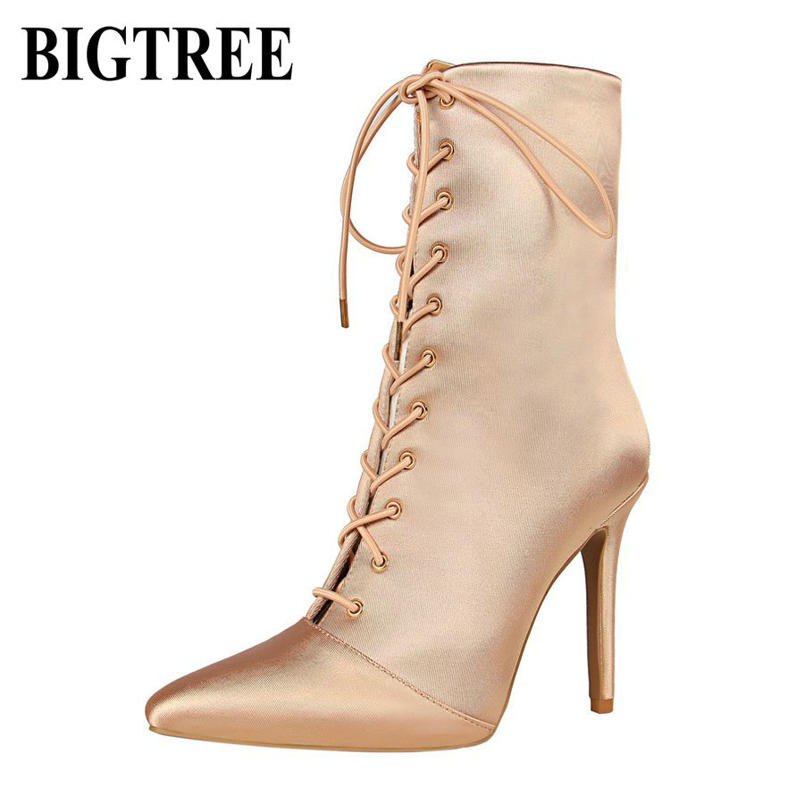 BIGTREE New Fashion Boots Women New Spring Ankle Boots Design Satin pointed lace cross stra Lace Up Lady High Heel Shoes 2362-63 2016 spring and summer free shipping red new fashion design shoes african women print rt 3