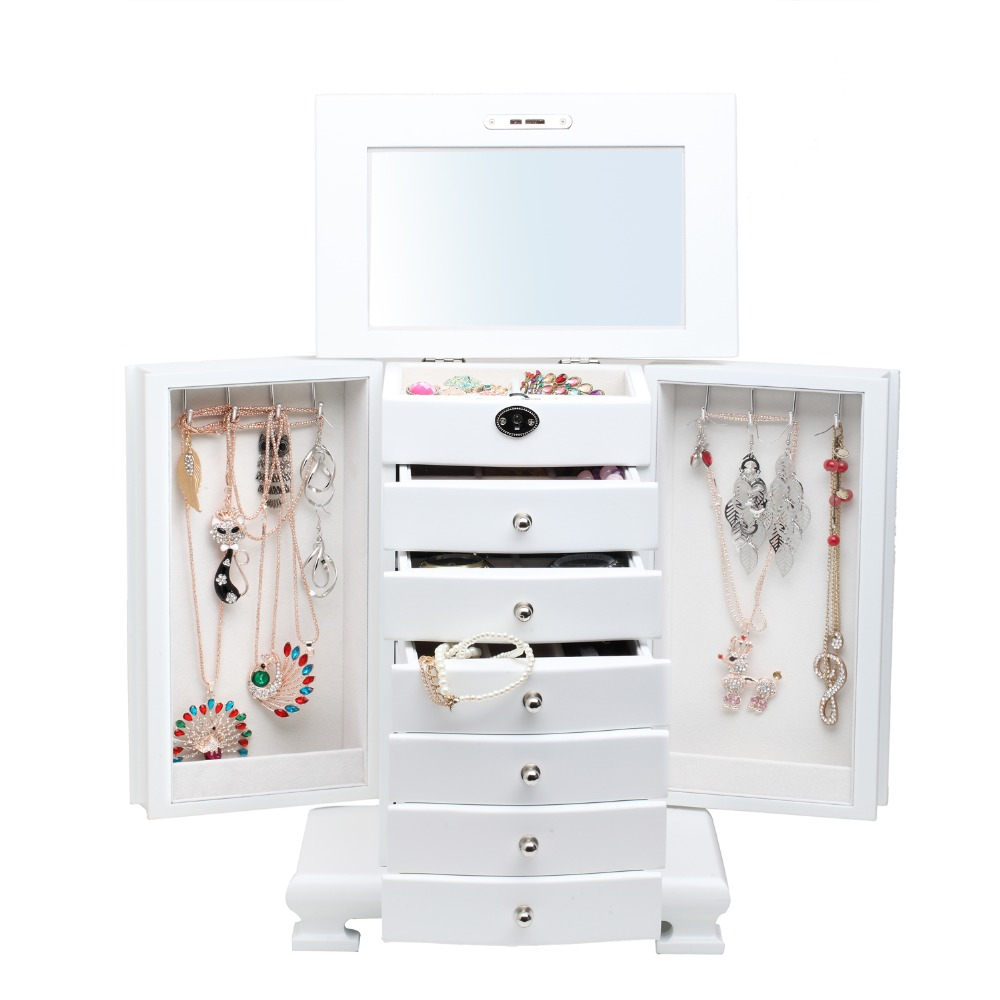 ROWLING moda duża klasyczne drewniane pudełka do przechowywania i pojemniki luksusowe pudełko na biżuterię kolczyki bransoletki organizator 6 szuflady lustro MG010 w Pakowanie i ekspozycja biżuterii od Biżuteria i akcesoria na  Grupa 3