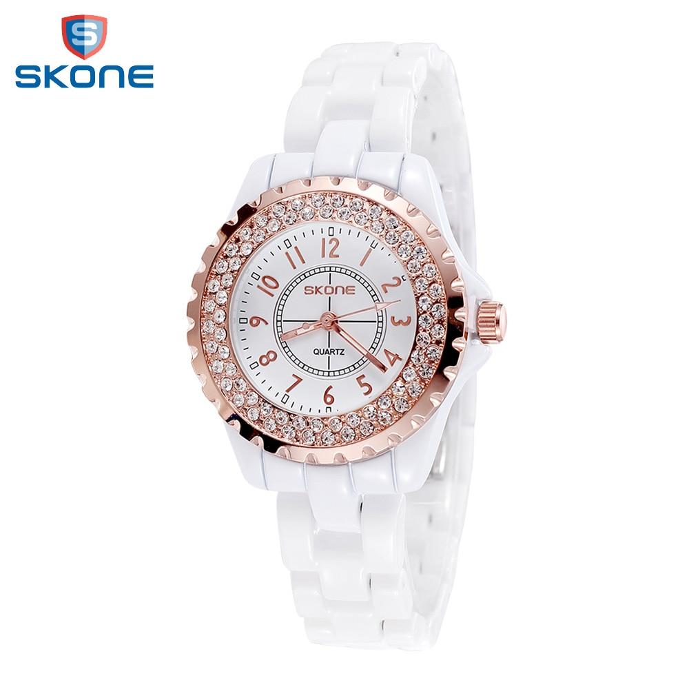 SKONE Quartz Ladies Watch Women Watches Waterproof Ceramic Watch Female Clock Rhinestone Girl Relogio Feminino Wristwatch Timer