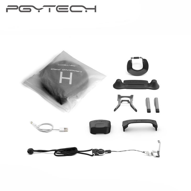 PGYTECH 7 DJI Mavic Pro Drone Accessory Kit Landing Gear Hood Neck Strap Landing Pad RC Joystick holder Propeller fixer pgytech 1 set landing pad 75 cm